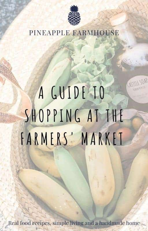 Image showing an ebook cover titled A Guide to Shopping at the Farmers' Market with a picture of fruit and vegetables in a basket behind the text. . There is the Pineapple Farmhouse name and logo on the top and the tagline Real Food Recipes, simple living and a handmade home at the bottom.