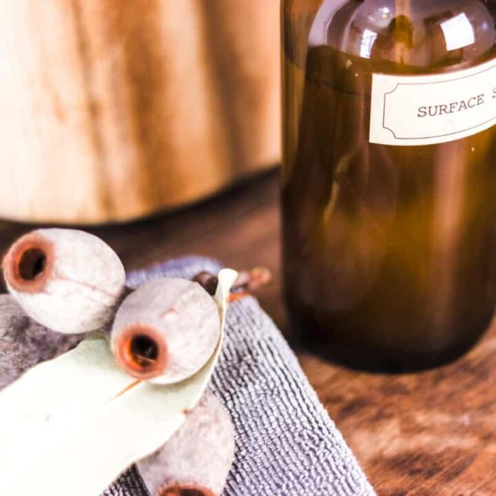 Close up image of a bottle labeled 'surface spray' next to a grey microfibre cleaning cloth and some gum nuts and leaf